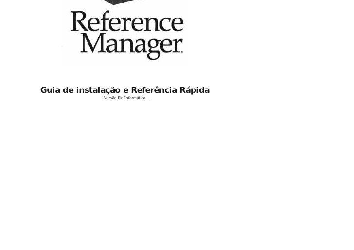 Guia de instalação e Referência Rápida              - Versão Pic Informática -