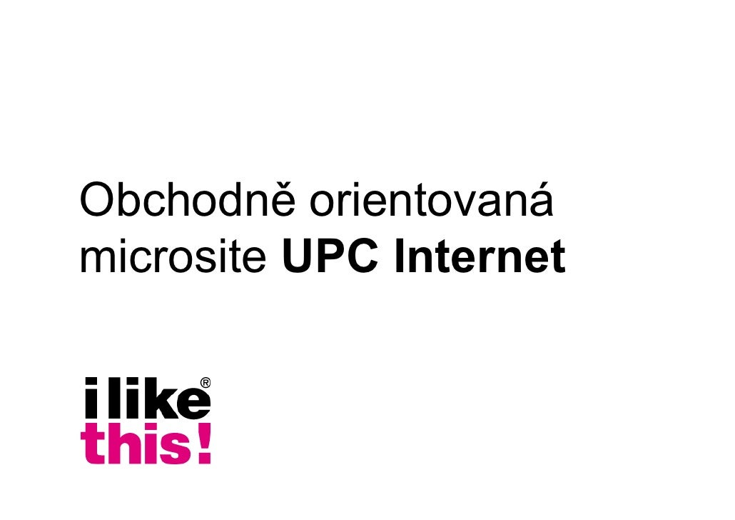 Obchodně orientovaná microsite UPC Internet