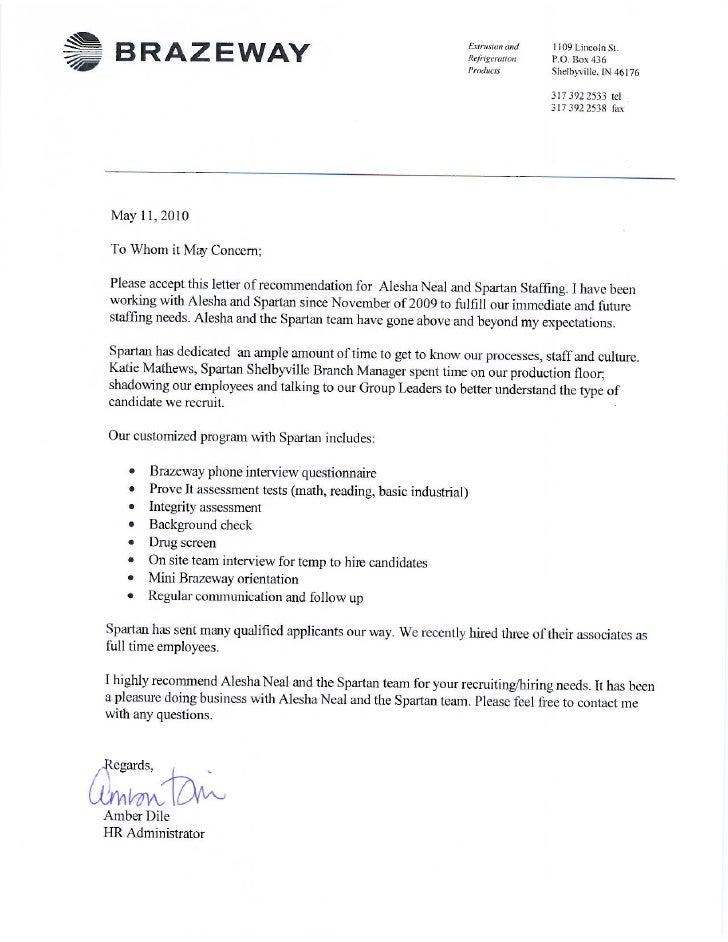 Spartan Staffing Customer Reference Letter