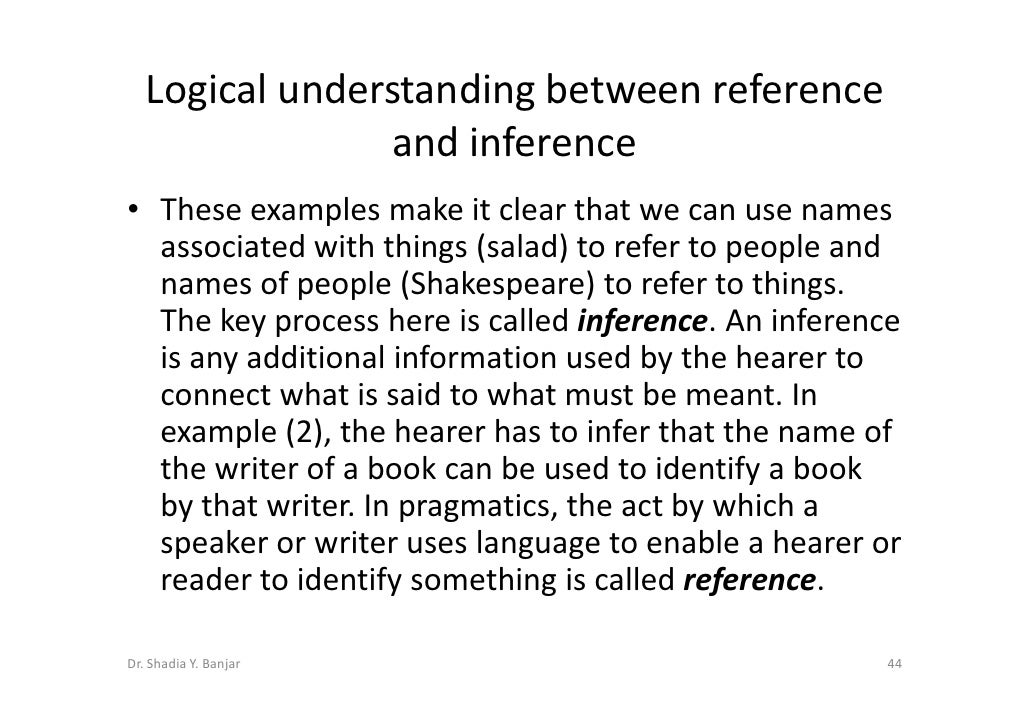 Reference and inference in pragmatics