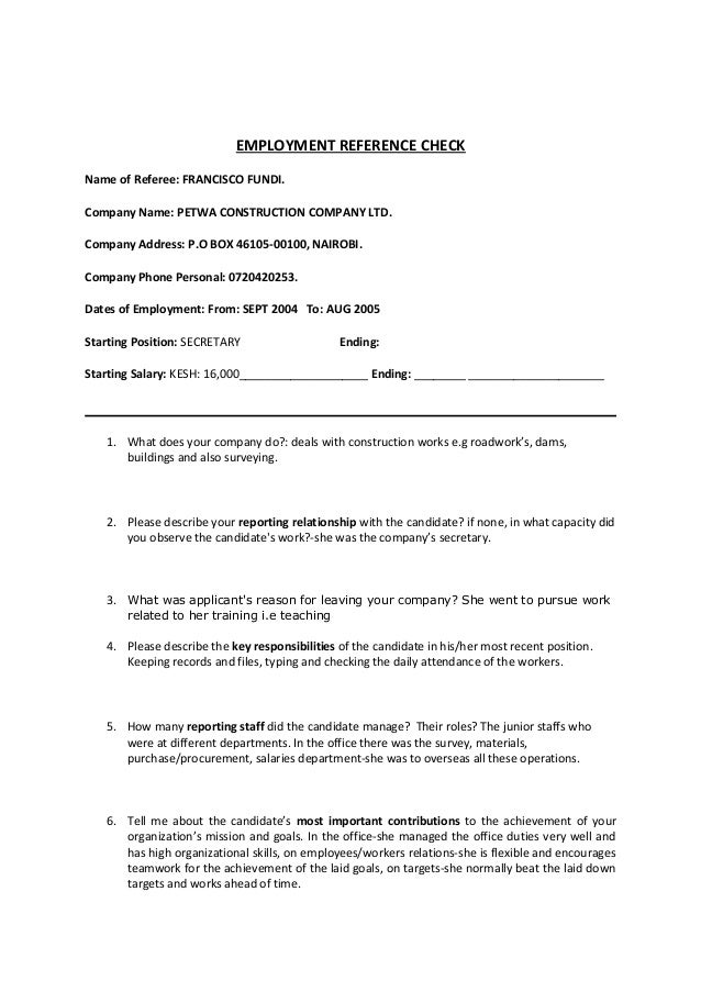 employment reference check form