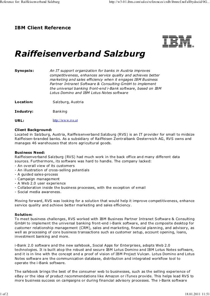 Reference for: Raiffeisenverband Salzburg                         http://w3-01.ibm.com/sales/references/crdb/ibmref.nsf/al...