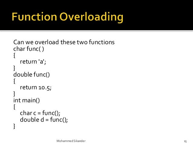 FUNCTION OVERLOADING IN C PDF