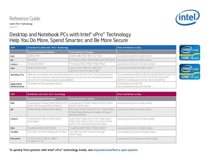 Reference GuideIntel® vPro™ TechnologyApril 2011Desktop and Notebook PCs with Intel® vPro™ TechnologyHelp You Do More, Spe...