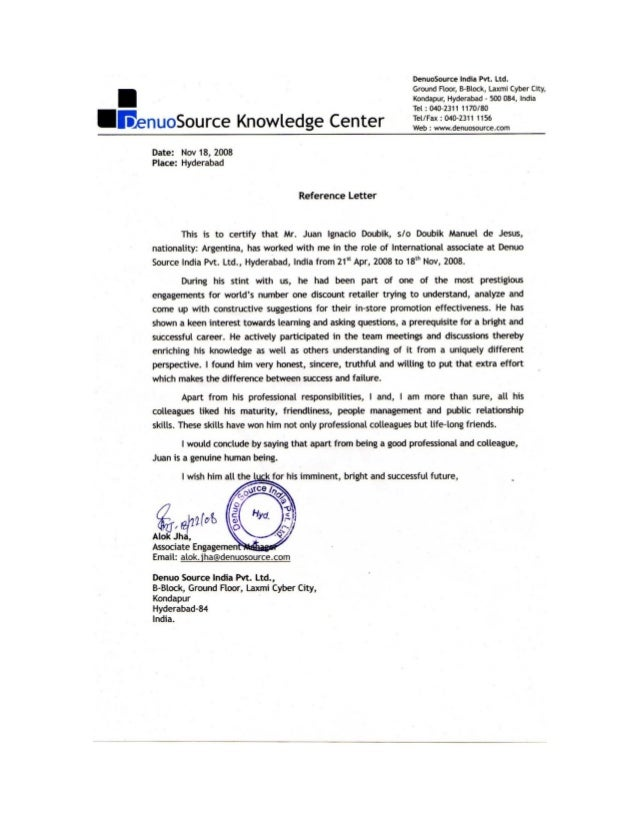 Reference letter project manager denuosource ltd expocarfo Choice Image