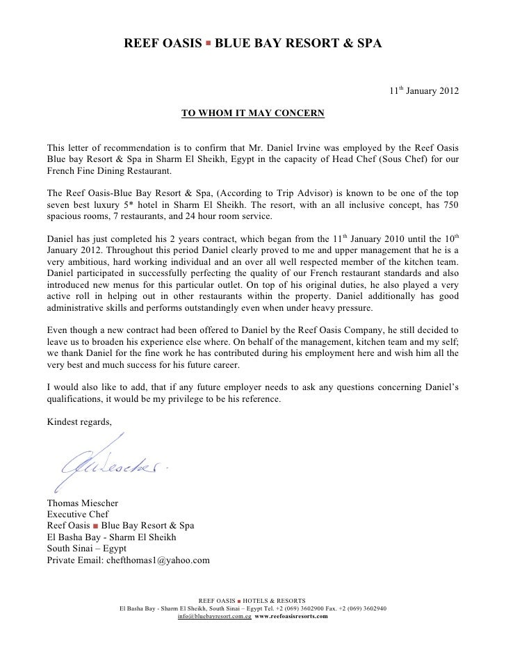 Reference letter blue bay 11 01 2012 for Hotel recommendation