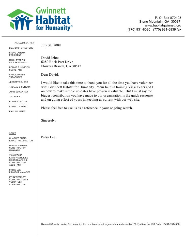 letter of recommendation for a volunteer