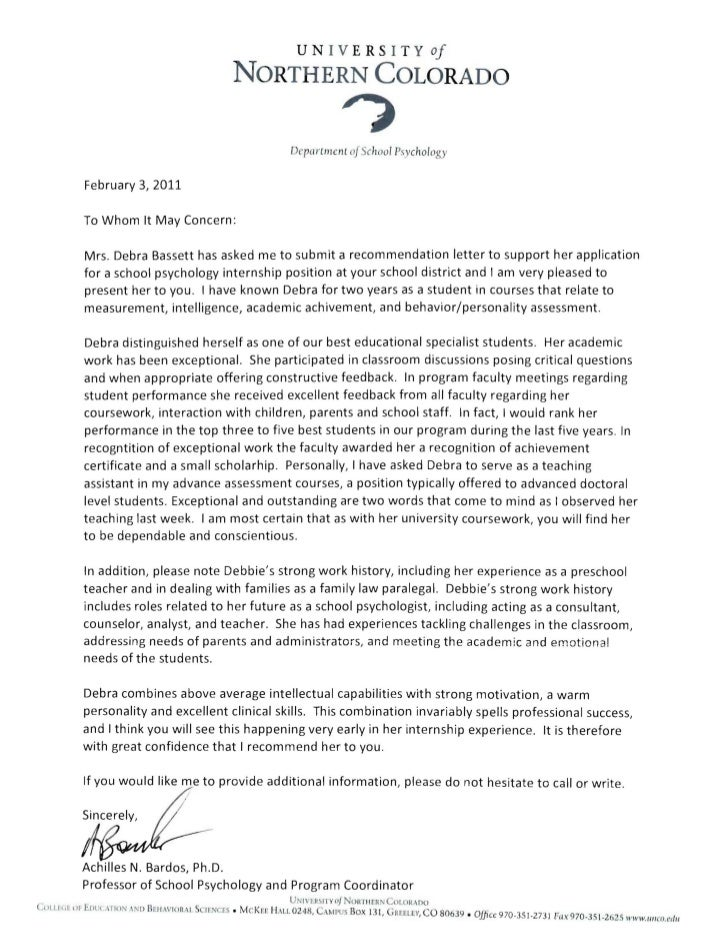 letter of recommendation for school counselor job