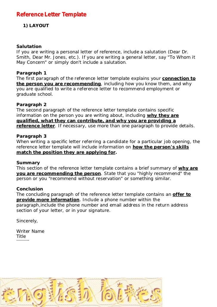 Reference Letter Template 1) LAYOUTSalutationIf You Are Writing A Personal Letter  Of Reference, ...