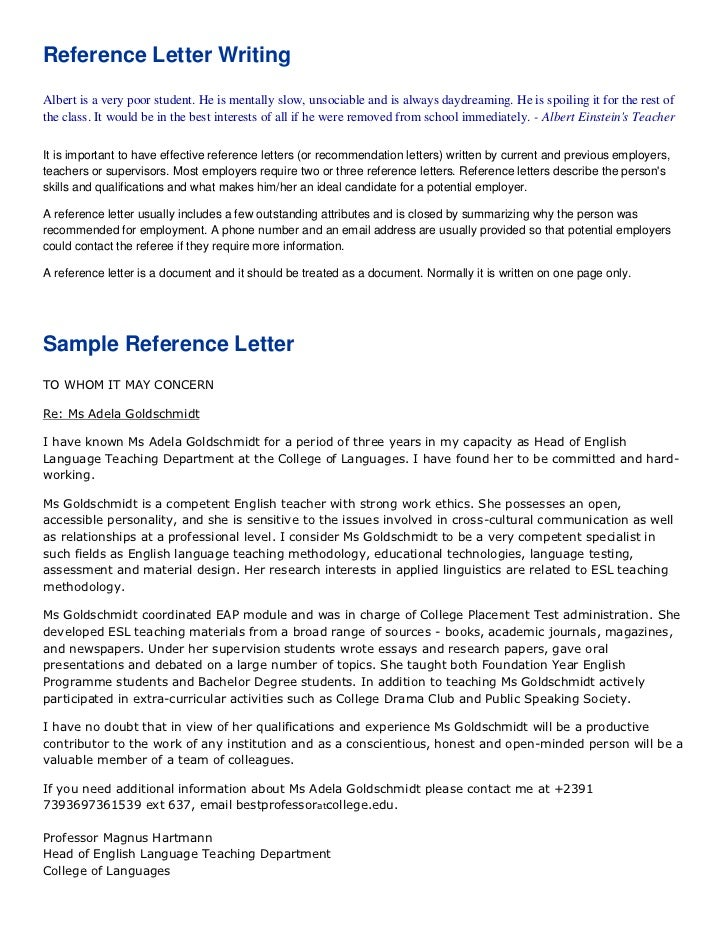Reference Letter For Student From English Teacher - English