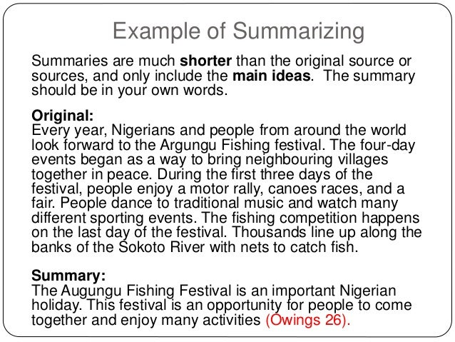 how to summarize example