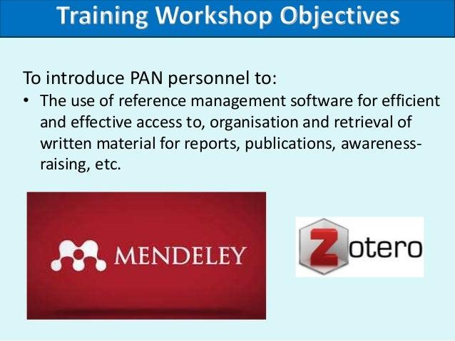 Reference management training workshop Slide 2