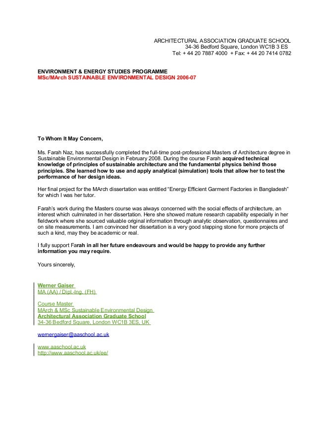 Reference Letter Werner Architectural Association Sed Tutor
