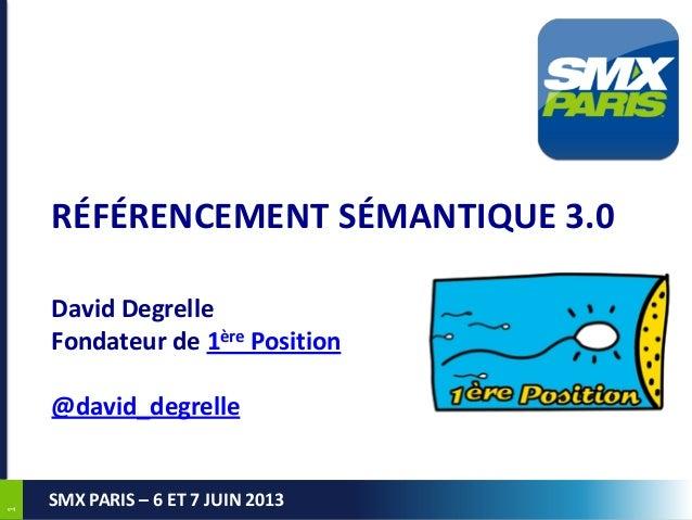 11SMX PARIS – 6 ET 7 JUIN 2013RÉFÉRENCEMENT SÉMANTIQUE 3.0David DegrelleFondateur de 1ère Position@david_degrelle
