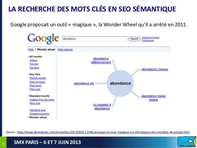 1414SMX PARIS – 6 ET 7 JUIN 2013LA RECHERCHE DES MOTS CLÉS EN SEO SÉMANTIQUEGoogle proposait un outil « magique », la Wond...