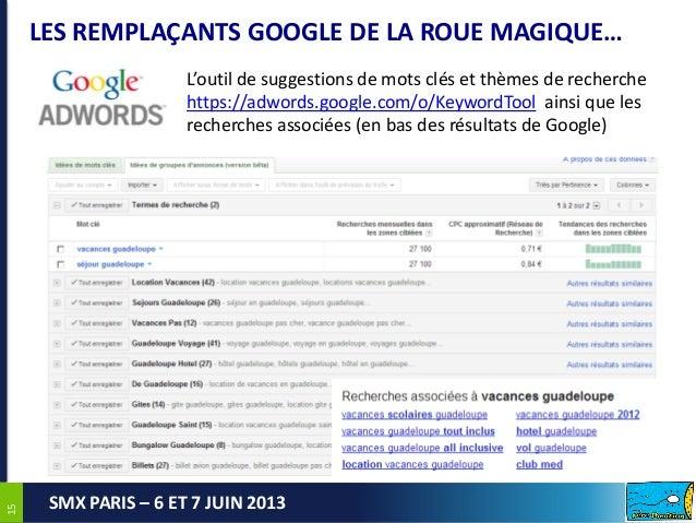 1515SMX PARIS – 6 ET 7 JUIN 2013LES REMPLAÇANTS GOOGLE DE LA ROUE MAGIQUE…L'outil de suggestions de mots clés et thèmes de...