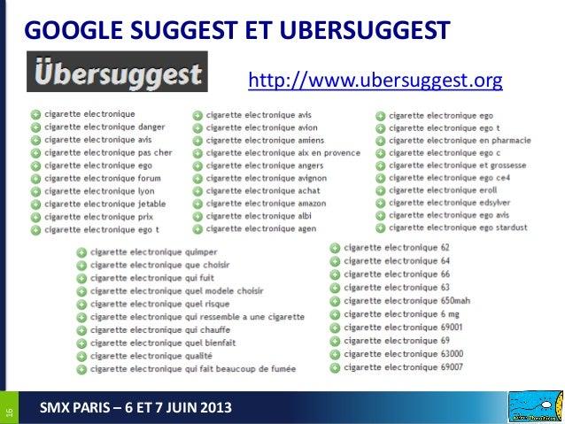 1616SMX PARIS – 6 ET 7 JUIN 2013GOOGLE SUGGEST ET UBERSUGGESThttp://www.ubersuggest.org