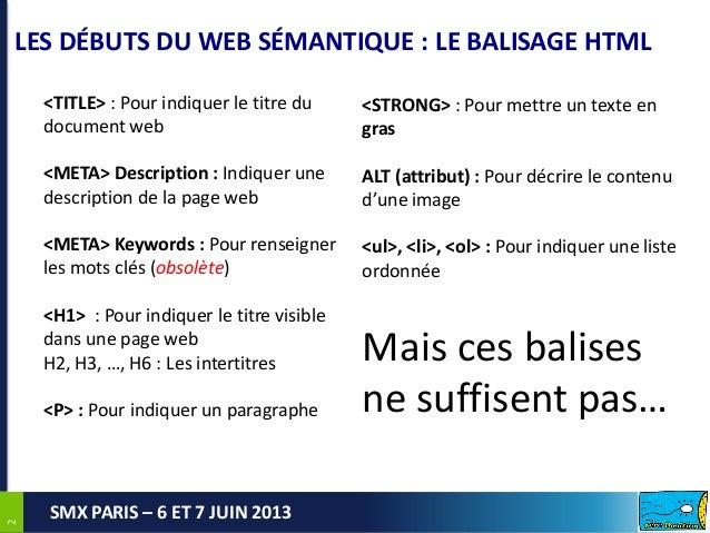 22SMX PARIS – 6 ET 7 JUIN 2013LES DÉBUTS DU WEB SÉMANTIQUE : LE BALISAGE HTML2<TITLE> : Pour indiquer le titre dudocument ...