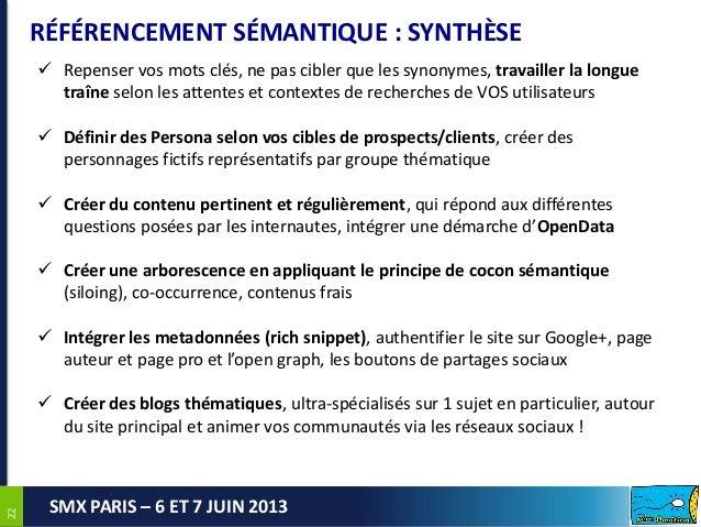 2222SMX PARIS – 6 ET 7 JUIN 2013RÉFÉRENCEMENT SÉMANTIQUE : SYNTHÈSE Repenser vos mots clés, ne pas cibler que les synonym...