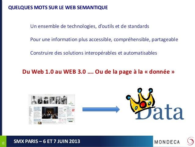 2626SMX PARIS – 6 ET 7 JUIN 2013QUELQUES MOTS SUR LE WEB SEMANTIQUEUn ensemble de technologies, d'outils et de standardsPo...