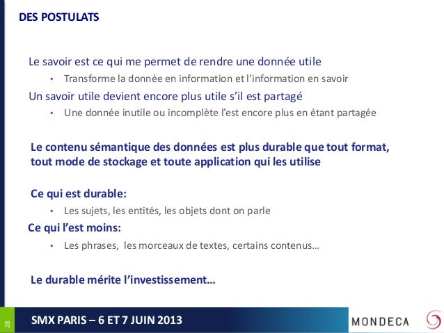 2828SMX PARIS – 6 ET 7 JUIN 2013DES POSTULATSLe savoir est ce qui me permet de rendre une donnée utile• Transforme la donn...