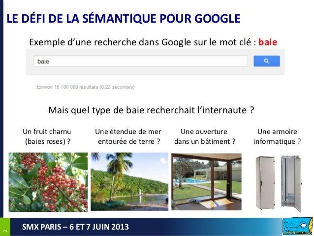33SMX PARIS – 6 ET 7 JUIN 2013LE DÉFI DE LA SÉMANTIQUE POUR GOOGLEUn fruit charnu(baies roses) ?Une étendue de merentourée...