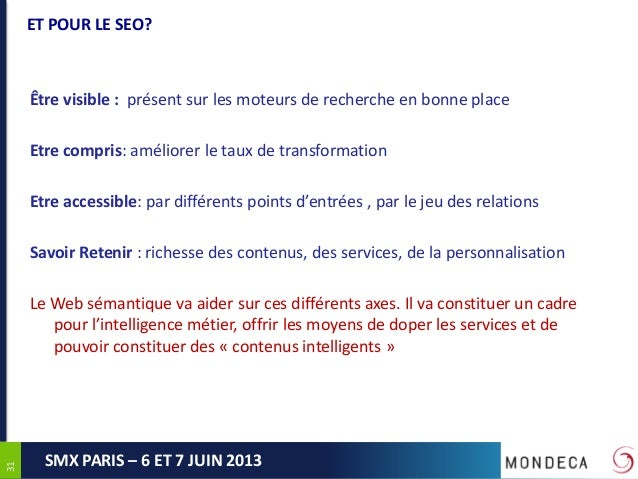 3131SMX PARIS – 6 ET 7 JUIN 2013ET POUR LE SEO?Être visible : présent sur les moteurs de recherche en bonne placeEtre comp...