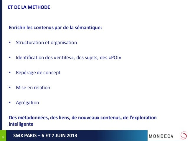 3232SMX PARIS – 6 ET 7 JUIN 2013ET DE LA METHODEEnrichir les contenus par de la sémantique:• Structuration et organisation...