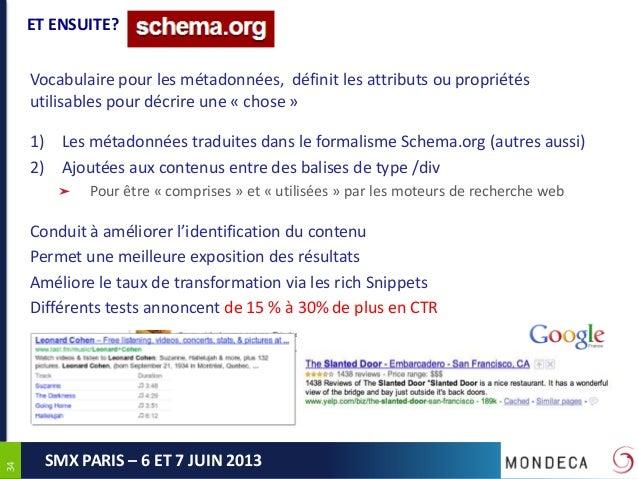 3434SMX PARIS – 6 ET 7 JUIN 2013ET ENSUITE?Vocabulaire pour les métadonnées, définit les attributs ou propriétésutilisable...