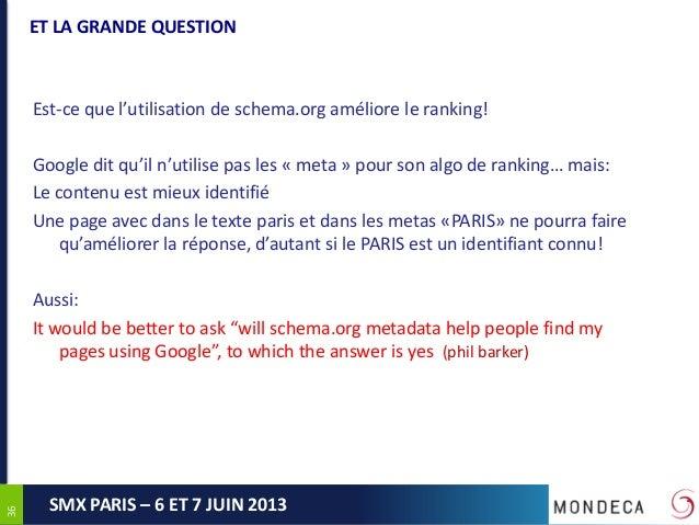3636SMX PARIS – 6 ET 7 JUIN 2013ET LA GRANDE QUESTIONEst-ce que l'utilisation de schema.org améliore le ranking!Google dit...