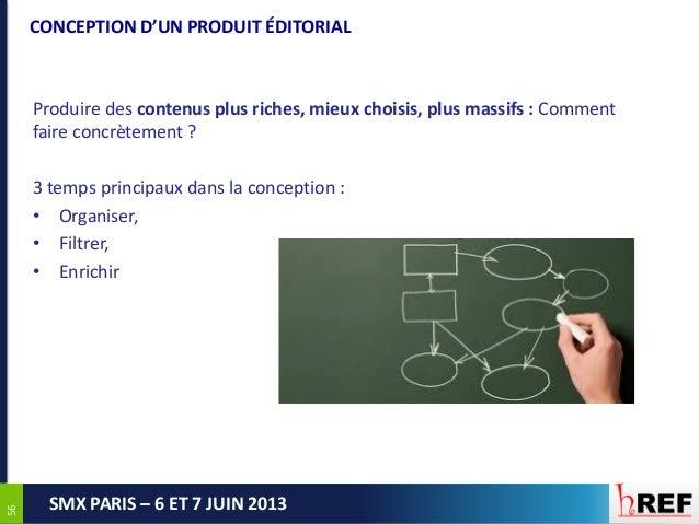 5656SMX PARIS – 6 ET 7 JUIN 2013CONCEPTION D'UN PRODUIT ÉDITORIALProduire des contenus plus riches, mieux choisis, plus ma...