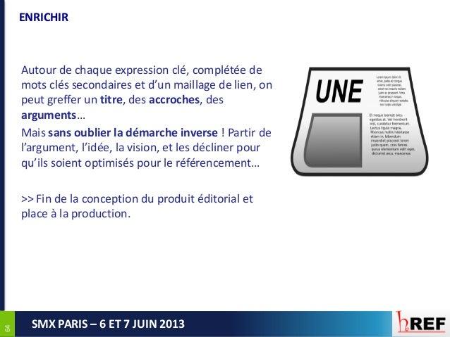 6464SMX PARIS – 6 ET 7 JUIN 2013ENRICHIRAutour de chaque expression clé, complétée demots clés secondaires et d'un maillag...