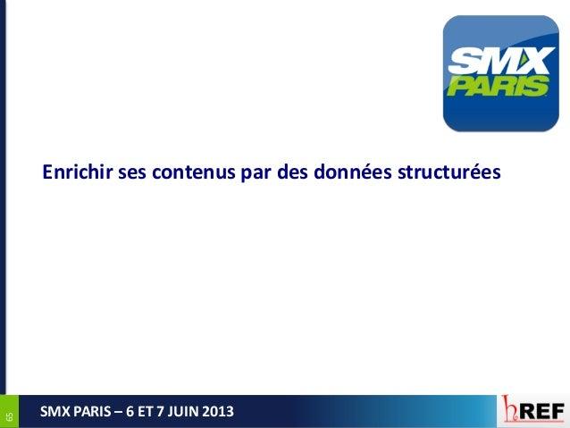 6565SMX PARIS – 6 ET 7 JUIN 2013Enrichir ses contenus par des données structurées