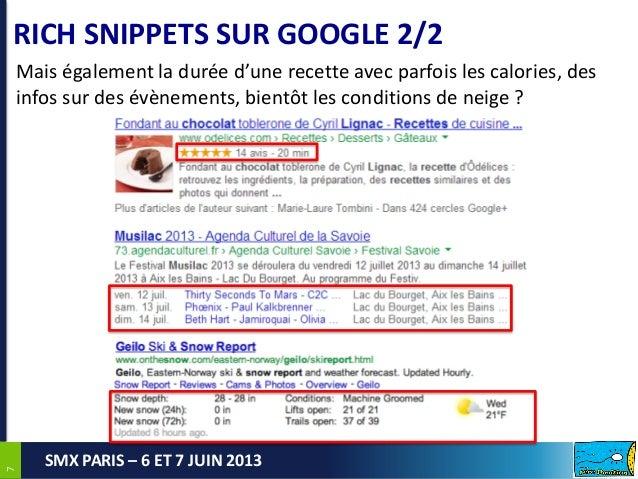 77SMX PARIS – 6 ET 7 JUIN 2013RICH SNIPPETS SUR GOOGLE 2/2Mais également la durée d'une recette avec parfois les calories,...