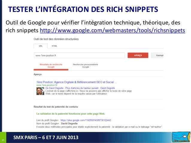 99SMX PARIS – 6 ET 7 JUIN 2013TESTER L'INTÉGRATION DES RICH SNIPPETSOutil de Google pour vérifier l'intégration technique,...