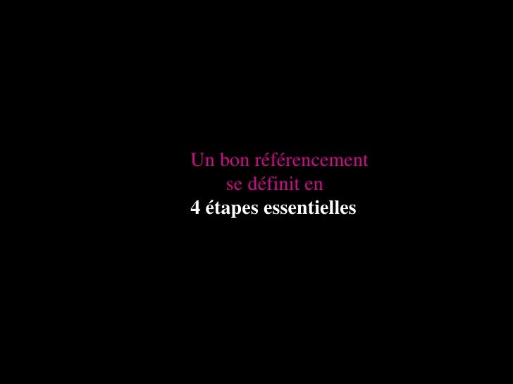 Un bon référencement <br />  se définit en<br />4 étapes essentielles<br />