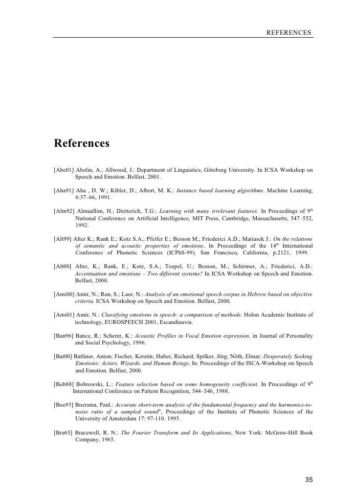 REFERENCES     References  [Abe01] Abelin, A.; Allwood, J.: Department of Linguistics, Göteborg University. In ICSA Worksh...