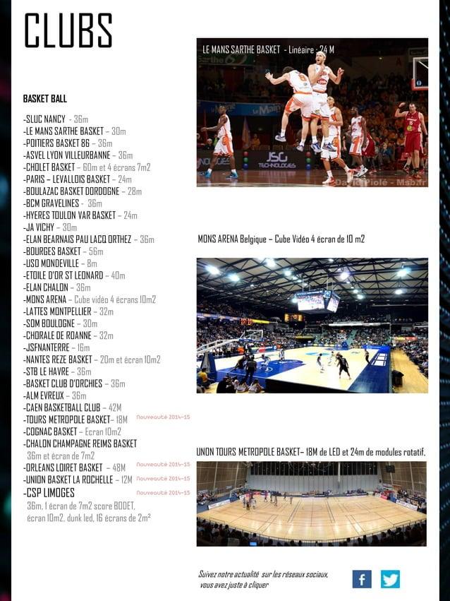 BASKET BALL  -SLUC NANCY - 36m  -LE MANS SARTHE BASKET – 30m  -POITIERS BASKET 86 – 36m  -ASVEL LYON VILLEURBANNE – 36m  -...