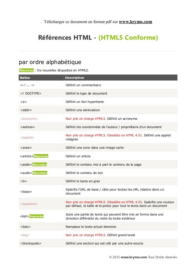 Télécharger ce document en format pdf sur www.krymo.com             Références HTML - (HTML5 Conforme)par ordre alphabétiq...