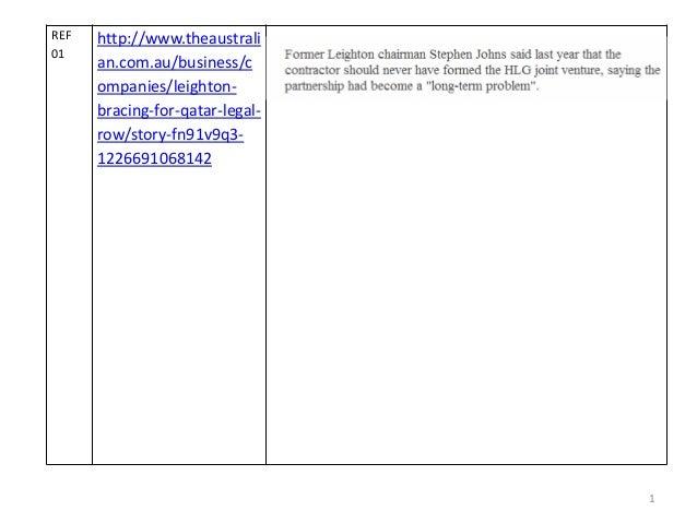 1 REF 01 http://www.theaustrali an.com.au/business/c ompanies/leighton- bracing-for-qatar-legal- row/story-fn91v9q3- 12266...