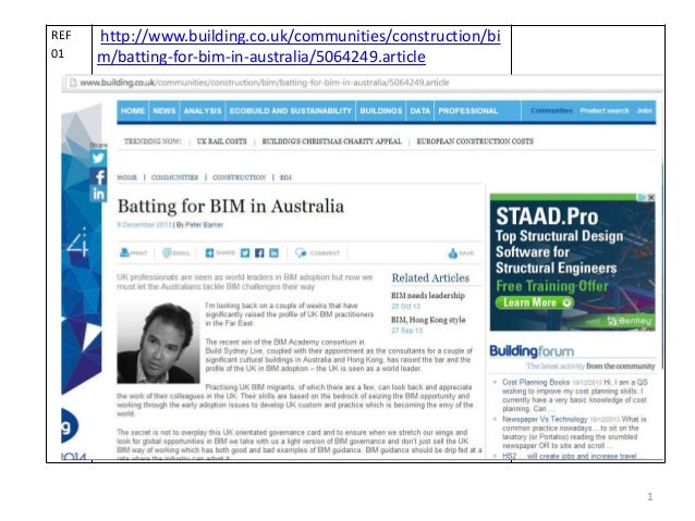 REF 01  http://www.building.co.uk/communities/construction/bi m/batting-for-bim-in-australia/5064249.article  1