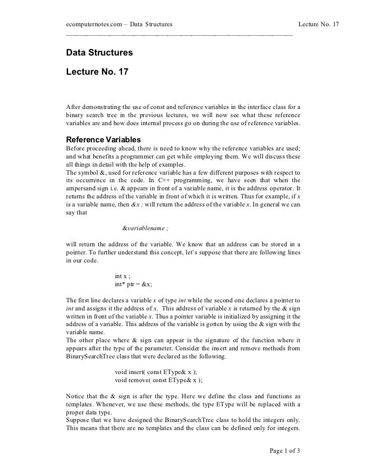 ecomputernotes.com Data Structures                                  Lecture No. 17________________________________________...