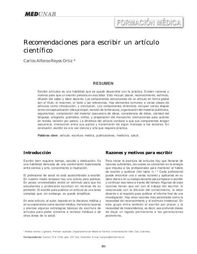 161 Carlos Alfonso Reyes OrtizRecomendaciones para escribir un artículo científico Recomendaciones para escribir un artícu...