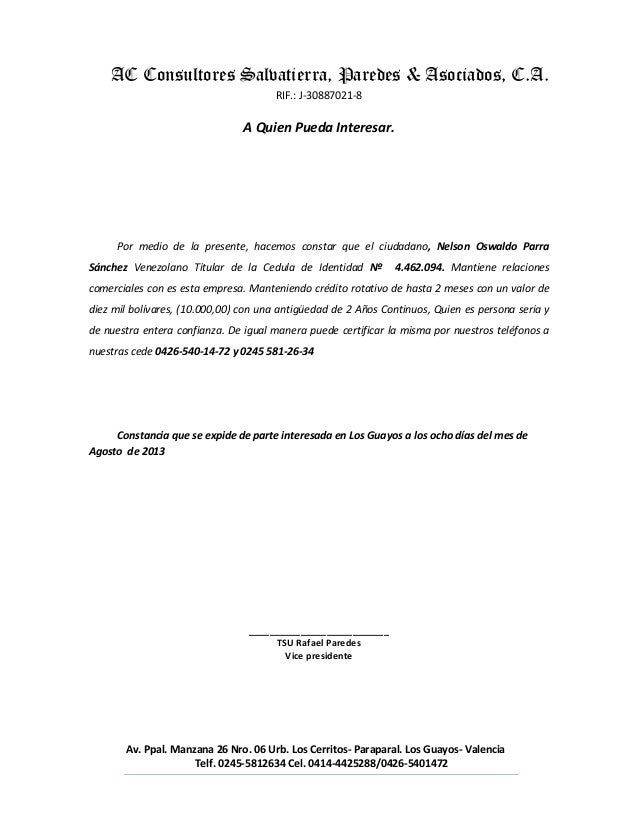 Modelo Carta De Referencia Proveedor Carta De Referencias
