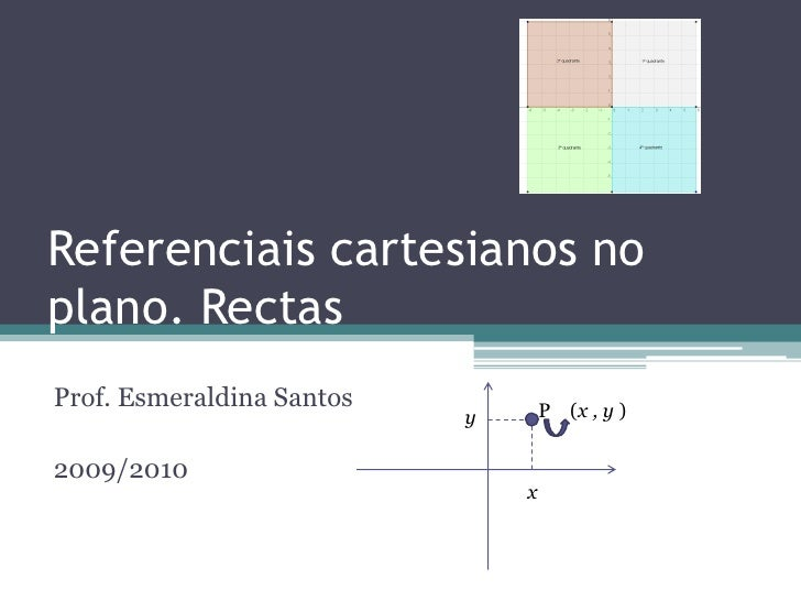 Referenciais cartesianos no plano. Rectas <br />Prof. Esmeraldina Santos<br />2009/2010<br /> P    (x , y )<br />y<br />x<...