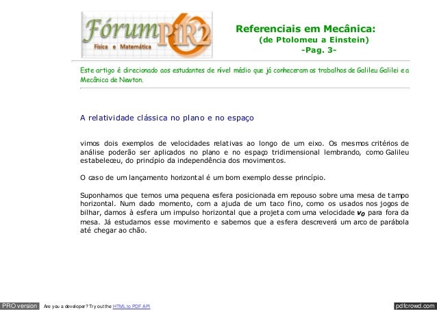 pdfcrowd.comPRO version Are you a developer? Try out the HTML to PDF API Referenciais em Mecânica: (de Ptolomeu a Einstein...