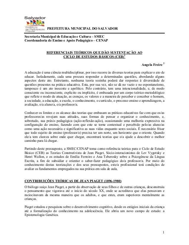 1 . PREFEITURA MUNICIPAL DO SALVADOR Secretaria Municipal de Educação e Cultura – SMEC Coordenadoria de Ensino e Apoio Ped...
