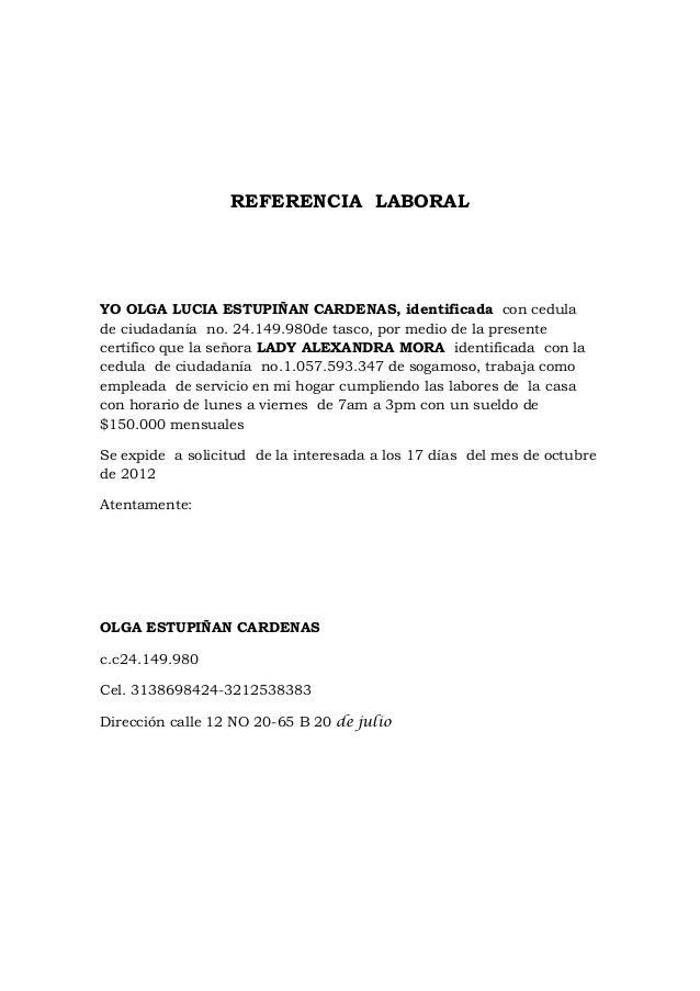 carta de referencia laborales