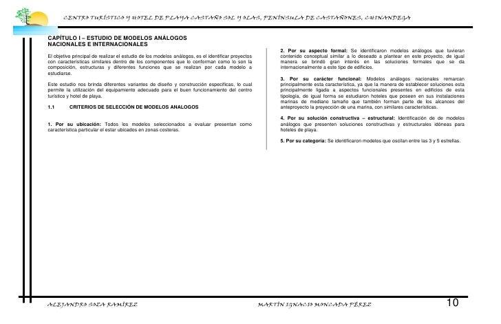 CENTRO TURÍSTICO Y HOTEL DE PLAYA CASTAÑO SOL Y OLAS, PENÍNSULA DE CASTAÑONES, CHINANDEGA    CAPÍTULO I – ESTUDIO DE MODEL...