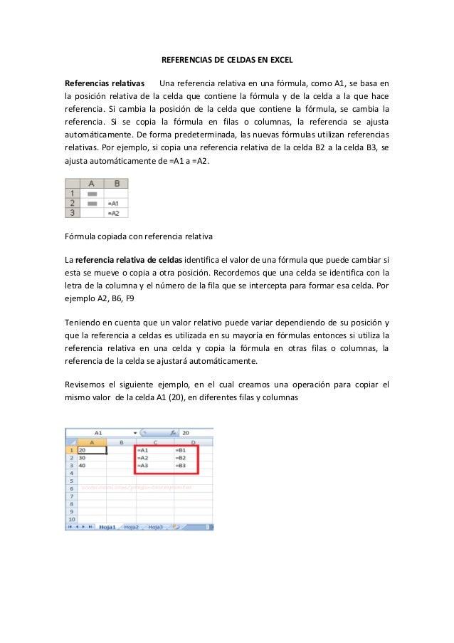 REFERENCIAS DE CELDAS EN EXCEL Referencias relativas Una referencia relativa en una fórmula, como A1, se basa en la posici...